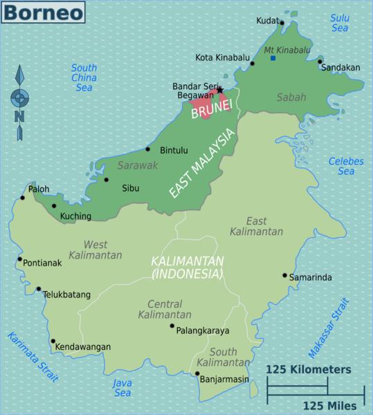Borneo Island Map