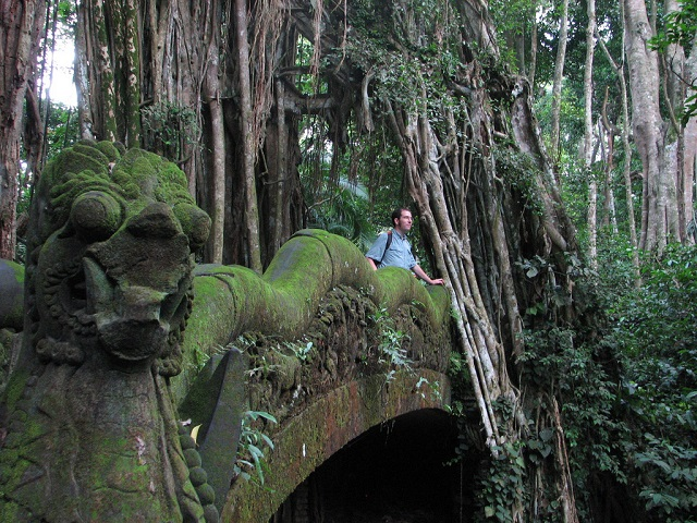 Patrick in Bali  Rain forest temple