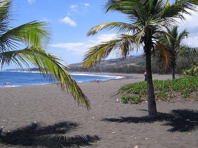 Reunion Island L'Étang-Salé black sand beach