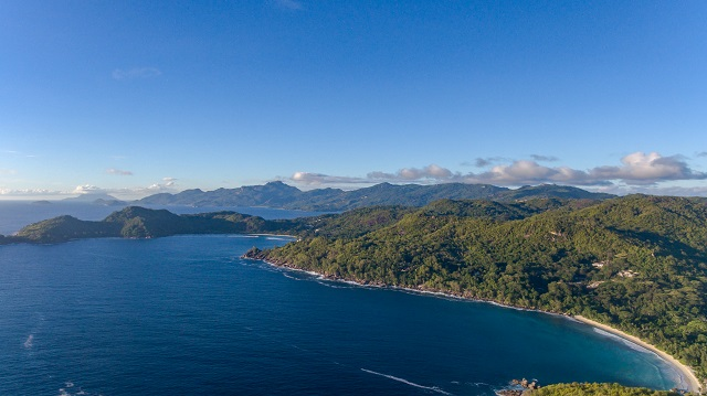 Aerial of Anse Takamaka beach Mahe Seychelles